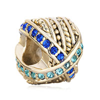 22k Golden Round Mix Matched Blue Rhinestone Crystal Charm Bead