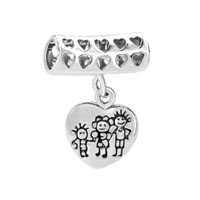 Happy Family Life Dangle Heart Charm Bracelet Love European Bead Charm