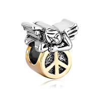 22k Golden Cute Sleeping Angel Peace Symbol Beads Charms Bracelets