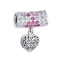 Long Round Clear Rose Crystal Dangle Heart Charm Bracelet Love Charm