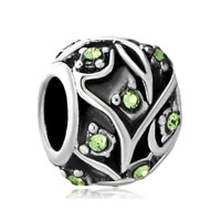 Vintage Silver P Peridot Green Crystal Leaf Ball Beads Charms Bracelets Fit All Brands