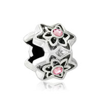 Silver Plated Rose Pink Swarovski Crystal Flower Charms Braceletss