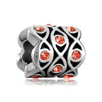 Silver Evil Eye Charm Bracelet Crystal Charm Flowers European Bead