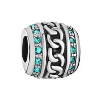 Cylinder March Births Aquamarine Crystal For Beads Charms Bracelets Fit All Brands