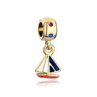 22k Golden Round Crystal Dangle White Blue Drip Sailboat Charm Bead