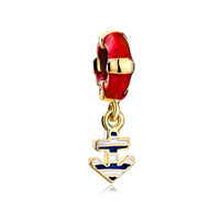 Red Drip Lifebuoy Dangle Golden Anchor Fit All Brands Bracelets