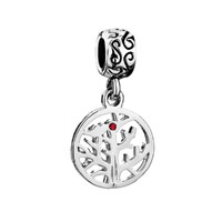 Dangle July Birthstone Family Tree Of Life Ruby Red Crystal Charm Bead