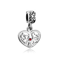 Silver Heart For Tree Births Red Crystal Dangle Beads Charms Bracelets Fit All Brands