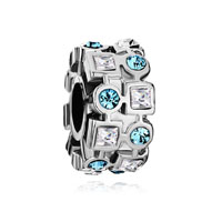 Pugster Ferris Wheel March Birthstone Crystal Round Square Beads Charms Bracelets Fit All Brands