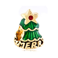 22 K Golden Emerald Green Christmas For Tree Light Red Gold Plated Beads Charms Bracelets Fit All Brands