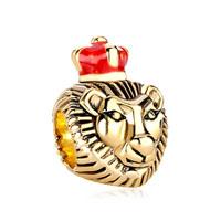 22k Golden Lion King Red Drip Crown European Bead Charms Bracelets