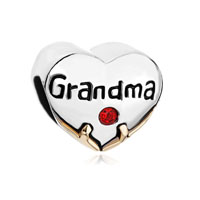 Heart Charm Bracelet Grandma Red Swarovski Crystal Love Beads Charm