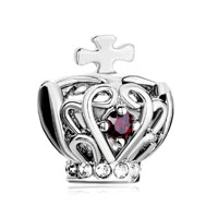 Silver Filigree Silver Cross Bracelet Charm On Crown Garnet Red