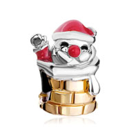 Red Drip Santa Claus In Chimney Two Tone Plated Beads Charms Bracelets Fit All Brands
