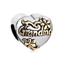 Heart Floral European Bead Charms Charms Bracelets Grandma Love