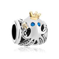Cute Octopus Crown Indicolite Crystal European Bead Charm Bracelets