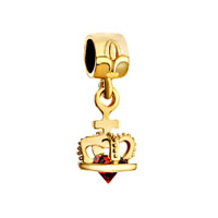 22 K Golden Plated Crown Indian Red Crystal Dangle Fit All Brands Beads Charms Bracelets