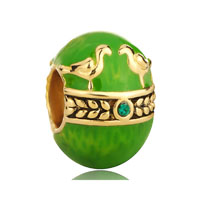 Bird Of Paradise Faberge Egg And For Necklaces Peridot Green Crystal Russian Gold Plated Beads Charms Bracelets Fit All Brands