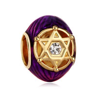 Purple Crystal In Double Triangles Rayed Star Of David Bead Gold
