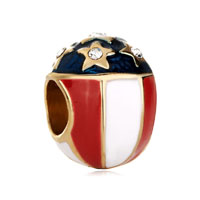 White Red Cream Blue Stars Faberge Egg European Bead Charm Bracelets