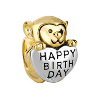 22k Golden Monkey Holding Heart Charm Bracelet Love Happy Birthday
