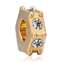 Silver 22k Golden Swarovski Element Crystal Charm Bracelet Spacers