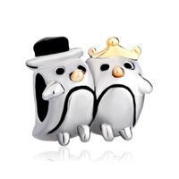 Silver Plated Penguin Couple Heart Charm Bracelet Love European Bead