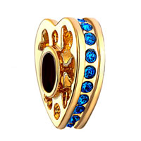 22k Golden Heart Love Blue Crystal September Births Charm Spacers