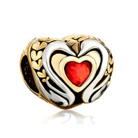 22k Golden Two Tone Swan Couple Light Red Crystal Heart Charm