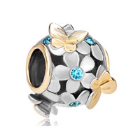 14 K Golden Aquamarine Blue Flower Butterfly Two Tone Plated Beads Charms Bracelets Fit All Brands