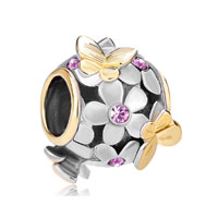 22 K Alexandrite Amethyst Flower Butterfly For Two Tone Plated Beads Charms Bracelets Fit All Brands