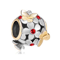 22 K Light Red Flower Golden Butterfly Two Tone Plated Beads Charms Bracelets Fit All Brands