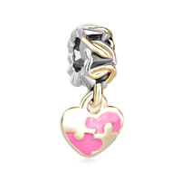22k Gold Rose Pink Heart Charm Bracelet Dangle European Bead Charm