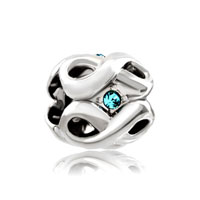 Silver Plated March Birthstone Aquamarine Blue Crystal Infinity Charm