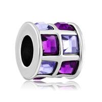 Amethyst Purple Crystals Tiles Drum Charm Bead Designer Charm Bracelet