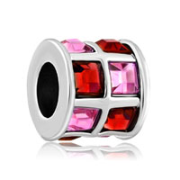 Rose Pink And Red Crystals Tiles Drum Charm Bead Designer Charm
