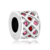 Silver Rose Pink Crystals Tiles Drum Lucky For Beads Charms Bracelets Fit All Brands