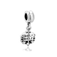 Clear White Crystal April Births Holy Bible Fancy Dangle Bead Charm