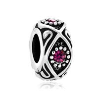 Amethyst Purple Swarovski Crystal Daisy Flower Charm Bracelet Spacer