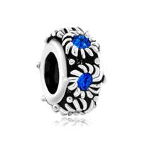 September Births Blue Crystal Daisy Flower Charm Bracelet Spacers