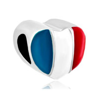 Heart Charm Bracelet France Patriotic Flag Charm European Bead