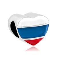 Heart Charm Bracelet Russian Patriotic Flag Charm European Bead
