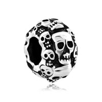 Silver Plated Halloween Skeleton Skull Beads Charms Bracelets Fit All Brands