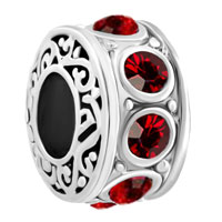 Silver Plated Red Birthstone Filigree Charm Bracelet Spacers