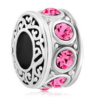 Silver Plated Rose Pink Birthstone Filigree Charm Bracelet Spacers