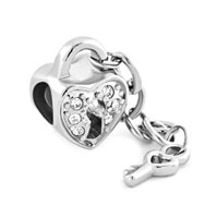 Silver Plated Diamond Charm Accent Heart Lock Key Charms Bracelets