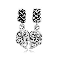 Filigree Heart Big Sis Lil Celtic Knot For Beads Charms Bracelets Fit All Brands