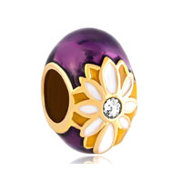 Purple Faberge Egg Lucky Charms Clear Crystal Daisy Lucky Charms