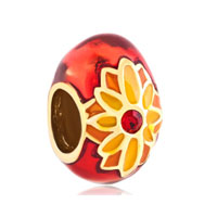 Faberge Egg Red Lucky Light Gold Plated Beads Charms Bracelets Fit All Brands
