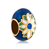 Faberge Egg Lucky Charms Sapphire Blue Crystal Daisy Lucky Charms